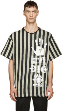 Kokon To Zai Black and Beige Striped Logo T-Shirt