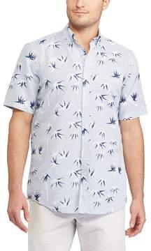 Chaps Big & Tall Classic-Fit Floral Tropical Linen-Blend Button-Down Shirt
