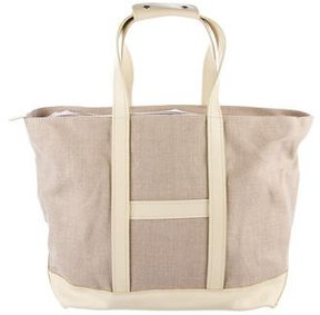 Hogan Leather-Trimmed Canvas Tote