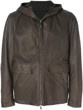 Bottega Veneta reversible hooded leather jacket