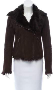 CNC Costume National Fur-Lined Suede Jacket