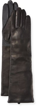 Neiman Marcus Cashmere-Lined Long Leather Tech Gloves, Black