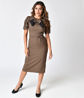 Stop Staring 1940s Style Brown & Black Houndstooth Wiggle Dress