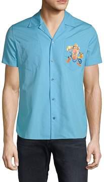 Moschino Men's Graphic Logo Cotton Button-Down Shirt