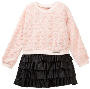 Calvin Klein Faux Fur Bodice & Pleather Skirt Dress (Little Girls)