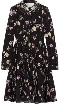 Valentino - Embellished Floral-print Silk Crepe De Chine Dress - Black