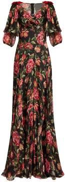 Dolce & Gabbana Rose-print V-neck silk-chiffon gown