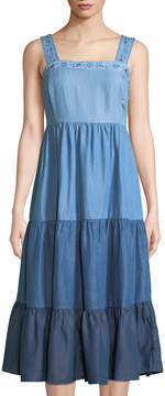 philosophy Tiered Colorblock Chambray Midi Dress