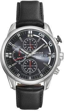 Pulsar Men's On The Go Leather Solar Chronograph Watch - PZ6023
