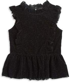 Bebe Girl's Flocked Lace Top