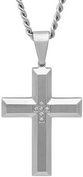 JCPenney FINE JEWELRY Mens Diamond-Accent Stainless Steel Cross Pendant Necklace