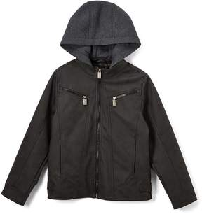 Urban Republic Black Faux Suede Quilted Hooded Jacket - Boys