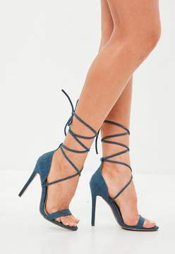 Missguided Blue Denim Lace Up Barely There Heels