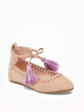 Old Navy Sueded Tassel-Trim Flats for Toddler Girls