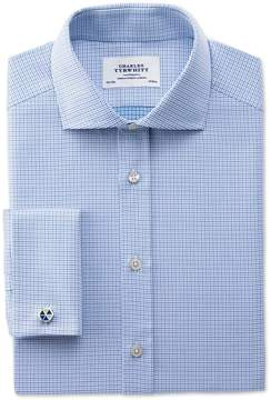 Charles Tyrwhitt Slim Fit Spread Collar Egyptian Cotton Textured Blue Dress Shirt French Cuff Size 15/35