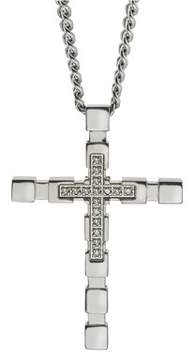 Armani Exchange Jewelry Diamond Cross Pendant In Stainless Steel (0.09 Carats).