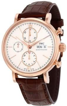 IWC Portofino Chronograph Silver Dial Brown Alligator Leather Men's Watch