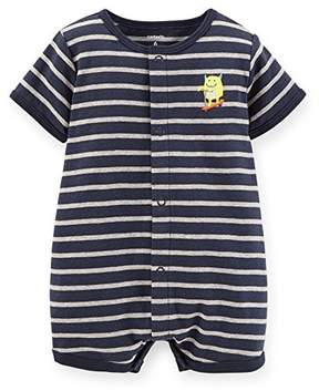 Carter's Baby Boys Cotton applique Creeper - Monster Stripe Navy NB