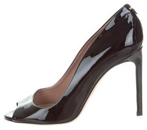 HUGO BOSS Patent Leather Peep-Toe Pumps