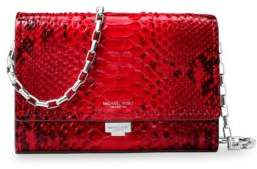 Michael Kors Yasmeen Python Small Leather Clutch - CRIMSON - STYLE