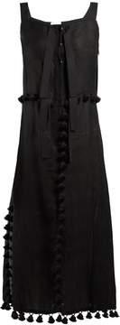 Altuzarra Villette pompom-embellished linen-blend dress