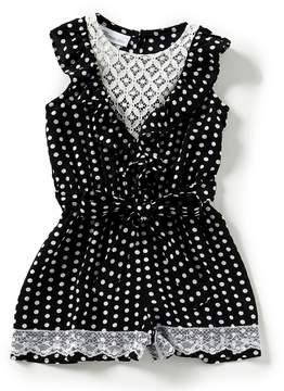 Bonnie Jean Little Girls 4-6X Dot Tie Waist Romper