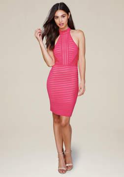 Bebe Striped Knit Halter Dress
