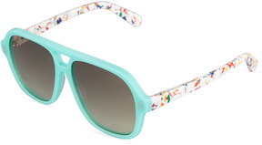 Stella McCartney Two-Tone Square Plastic Sunglasses, Turquoise