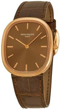 Patek Philippe Golden Ellipse Automatic Brown Dial 18 kt Rose Gold Men's Watch