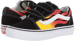 Vans Kids Old Skool V Black/Black/True White) Kids Shoes