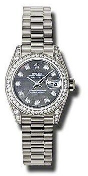 Rolex Lady-Datejust 26 Black Mother Of Pearl Dial 18K White Gold President Automatic Ladies Watch