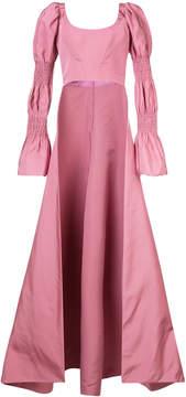 Christian Siriano puffed sleeve floor length cape-back top