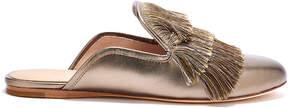 Rachel Zoe Kaius Fringed Metallic Leather Slippers