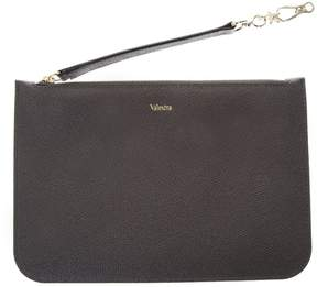 Valextra Dark Grey Grained Leather Pouch