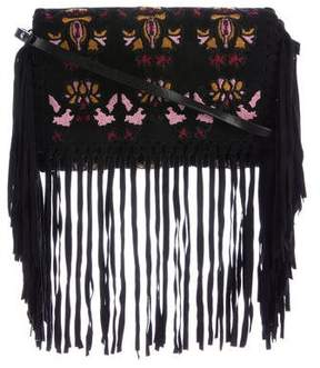Isabel Marant Embroidered Fringed Shoulder Bag
