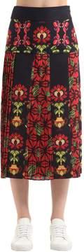 Stella Jean Printed Pleated Cotton Midi Skirt