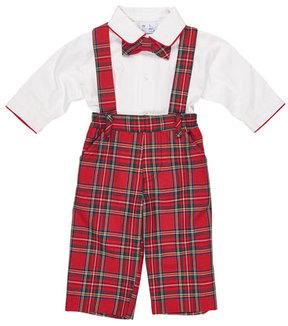 Florence Eiseman Tartan Plaid Suspender Pants w/ Shirt & Bow Tie, Size 9-24 Months