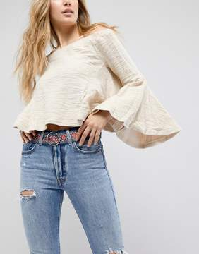 Asos Floral Fabric Jeans Belt With Ring Buckle