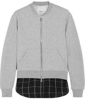 3.1 Phillip Lim Layered Cotton-jersey And Flannel Bomber Jacket - Light gray