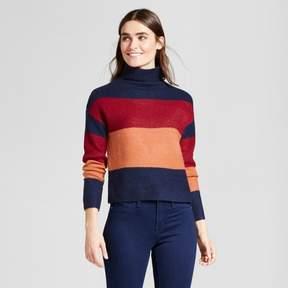Cliche Women's Colorblock Turtleneck Pullover Sweater Navy/Red/Orange