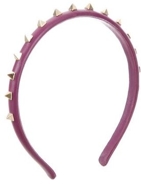 Valentino Leather Rockstud Headband
