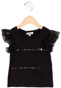 Junior Gaultier Girls' Shiva Tulle-Accented Top w/ Tags