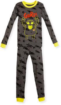 Petit Lem Two-Piece Monster-Print PJs, Dark Gray, Size 5-7