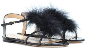 Charlotte Olympia Fifi feather-trimmed leather sandals