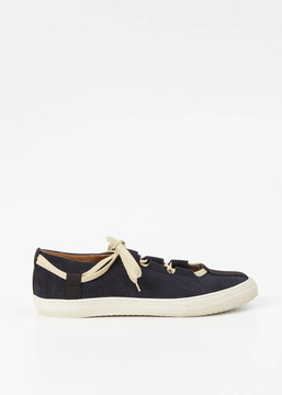 Dries Van Noten Navy Suede Ballet Shoes
