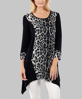 Lily Black Leopard Sidetail Tunic - Women