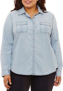 Arizona Long Sleeve Button-Front Shirt-Juniors Plus