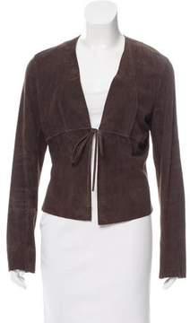 Tahari Collarless Leather Jacket