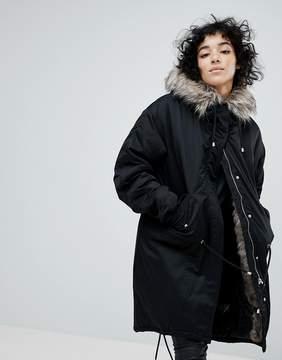Noisy May Oversized Parka Jacket With Faux Fur