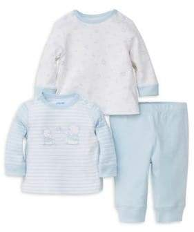 Little Me Baby Boy's Play Ball Three-Piece Cotton Long-Sleeve Top and Pants Set